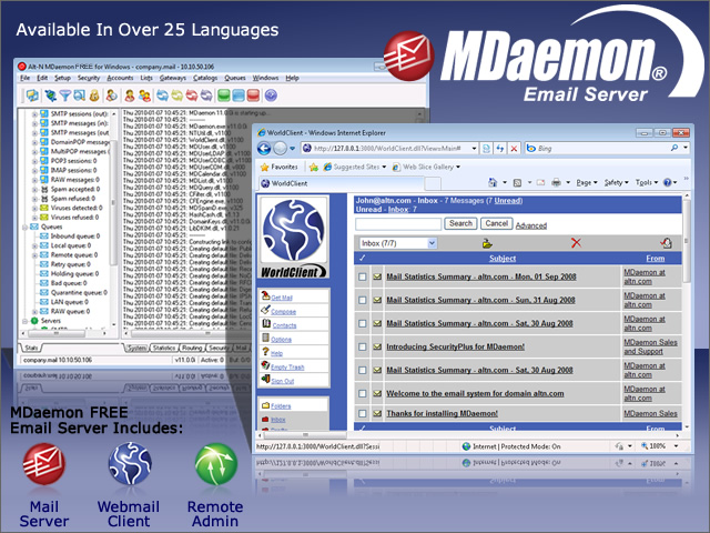 MDaemon FREE Mail Server for Windows screenshot: free, freeware, free mail server, free email server, mdaemon, email server, mail server, email server software, mail server software, POP3, SMTP, POP3 server, SMTP server