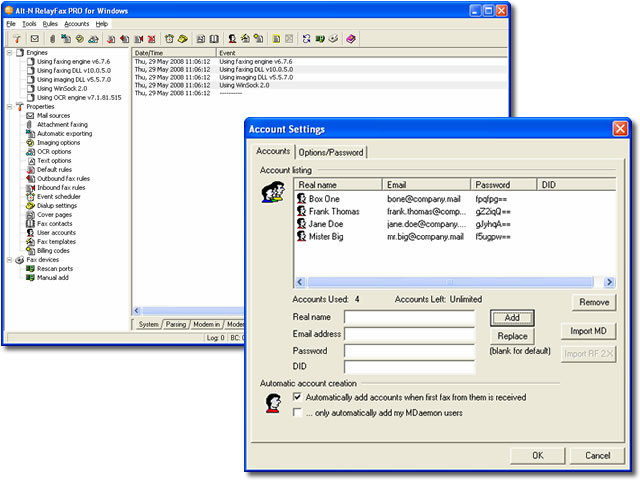 RelayFax Network Fax Manager software screenshot