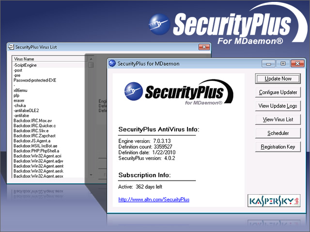 Click to view SecurityPlus for MDaemon 4.0.1 screenshot